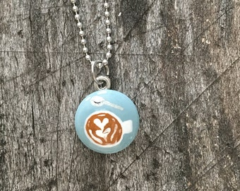 Hand Painted Latte Necklace in Blue
