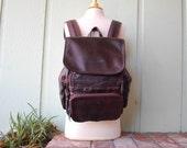 VTG Wilsons Leather Backpack Rustic Brown Chestnut Book Bag Essential Pack Ruck Sack Aviator Organizer Preppy Hobo Boho Velcro Hobo Bag Moto