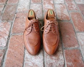 Vintage Mens 9.5 Adolfo Comfort Italian Lace Oxfords Split Toe Braided Brogues Derby Dress Boat Shoes Wedding Preppy Natural Leather Brown
