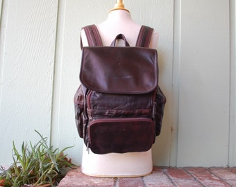VTG Wilsons Leather Backpack Rustic Brown Chestnut Book Bag Essential Pack Ruck Sack Aviator Organizer Preppy Hobo Boho Velcro Hobo Bag Moto