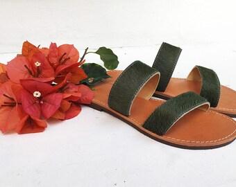 The Olive Kyon Sandal- Olive Ponylike Furry Leather