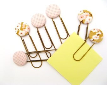 Super Sized Paper Clips with Fun Fabric Buttons - Cherry Blossoms, Pink Gingham
