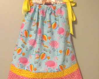 RTS beach flamingo pillowcase dress cover up pink yellow blue size 3 3T