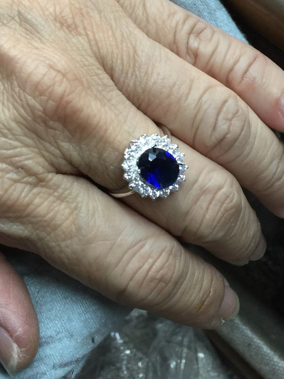 925 Silver Sapphire Blue Oval Engagement Ring - Kate Middleton Diana Royal Wedding Ring - Size US 3,4,5,6,7,8,9,10,11,12,13,14