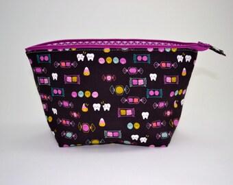 Halloween Candy Makeup Pouch, Zipper Bag, Gifts for Her, Open Wide Zipper Pouch, Cosmetic Bag, Teacher Gift