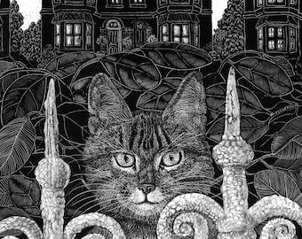 Greetings Card Cat in the Park from original Scraperboard artwork - blank card