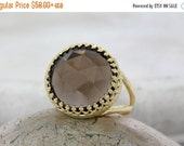 BLACK FRIDAY SALE - Smoky quartz ring,personalized ring,gold ring,big large ring,gemstone ring,mother's gift,sister's ring,famil