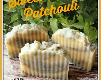 Sweet Orange Patchouli Natural Handmade Organic Shea Butter Soap Bar. Vegan, Gluten Free, Amazing Scent, Large 4 to 5 oz Bar Size!