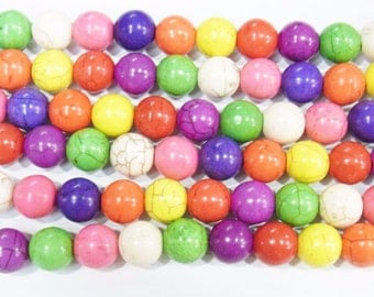 "4mm/6mm/8mm/10mm/12mm Magnesite Beads Round Multicolor Synthetic Semiprecious Gemstone 15""L"