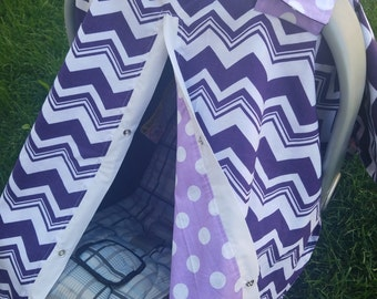 Carseat Canopy Purple Chevron Lavender Dot car seat canopy / car seat cover / car seat tent / nursing cover READY TO SHIP