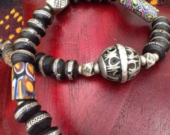 Handmade Tuareg Ethnic Tribal Jewelry Silver Bohemian Boho Gypsy, Moroccan Berber Necklace with Colorful Millefiori,