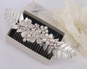 Agnes - Vintage Style Rhinestone Flower, Freshwater Pearl and Sliver Leaves Bridal Comb