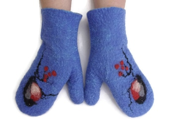 Felted Mittens Merino wool Blue