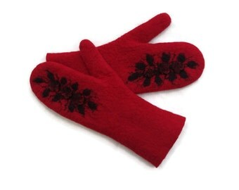 Felted Mittens With longer cuffs Black Red