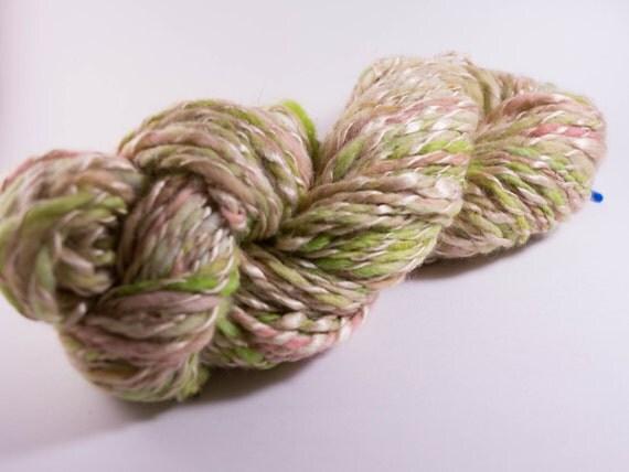 Handspun Yarn,Sherbert,Handpainted Merino plyed with Silk, Worsted