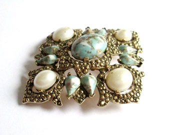 1970s Statement Brooch Sarah Coventry Large Triangle Turquoise White Pearl
