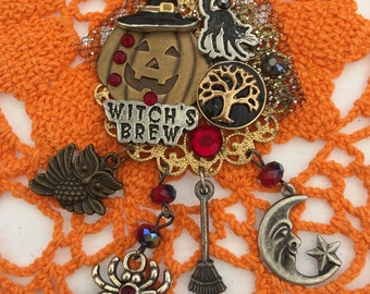 BlACK Cat and WITCHES Brew - HALLOWEEN Pin - Jack-O-Lantern Witch BROOCH