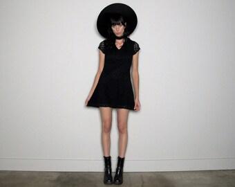 Black LACE 90s Stretch Mini DRESS Grunge Collar Womens Vintage Size XS/S