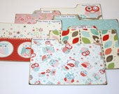 Recipe Divider Tabs, Set of 6, Owl Print Recipe Divider Cards, Teal and Coral Recipe Dividers, 4x6 Recipe Divider Cards
