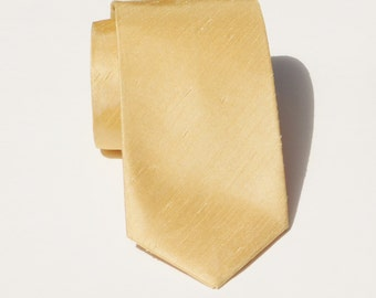 Pale gold shantung neck tie standard or skinny textured tie faux silk dupoini
