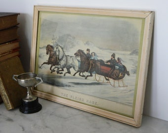 Vintage Equestrian Framed Print. The Sleigh Race. Traditional. Home Decor. Cottage.