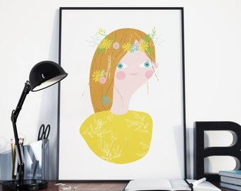 Flower Girl Portrait | A4 giclee print | Poster | Hair Garland | Wall Art | Girl Portrait | Decor | Mustard Yellow |