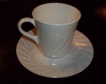 Corelle White Enhancements AKA Swirl Cups & Saucers Set of 4