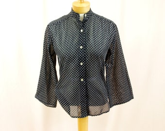 White and Black Dotted Swiss Top * Boho Top * Flared Sleeve Top * Button Down Shirt * Swiss Dot Blouse * 60s Blouse * Boho Blouse
