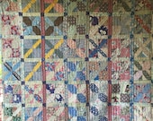Antique Vintage Strip Quilt Beautiful Fabrics Huge Variety of Fabrics