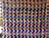 Beautifully Hexagon Block Antique Vintage Quilt Silk & Satin Gorgeous Jewel Tones