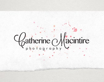Premade Logo // Logo Design // Business Logo //  Photography Logo // Watercolor Logo // Paint Splatter Confetti  Logo