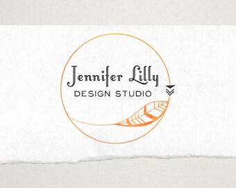 Premade Logo // Logo Design // Business Logo //  Photography Logo // Watercolor Logo //Feather Circle Logo