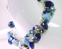 Lapis Cluster Bracelet by Agusha. Multi Gemstone Sterling Silver Bracelet. Lapis, Pearl, Blue Opal, Mystic Quartz Bracelet