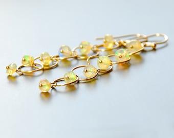 Australian Opal Dangle By Agusha. Long Opal Gold Filled Earrings. Gemstone Earrings