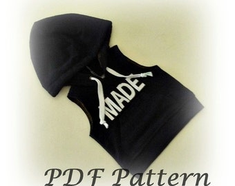 PDF pattern for 18 inch dolls, hooded tank