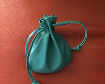 Large Leather drawstring Pouch Bag - Turquoise Color - Handmade By Shirlbcreationstoo