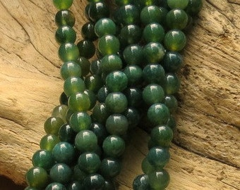 Moss Agate - 6mm Round - 15 inch strand of 58 beads