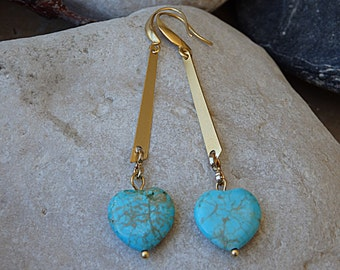 Heart Shaped Turquoise Earrings, Gold Heart Drop Earrings for Bride Bridesmaid Gift, Turquoise Jewelry Gift, Gold Turquoise Dangle Earrings