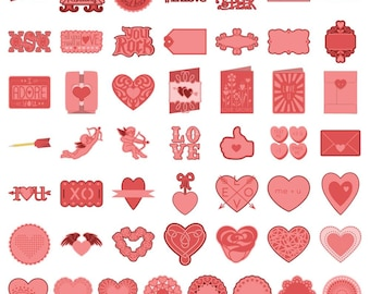 Cricut Shape Cartridge for Valentines Day - 50 Images -  Includes 4 Cards & One Envelope (124628)