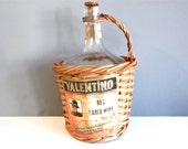 Vintage wicker Spanish wine bottle cover, wicker covered Valentino red table wine
