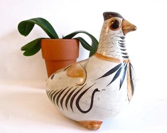 Vintage Mexican tonala ceramic bird figurine, folk art pottery
