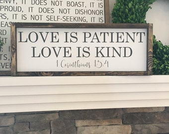 Love is Patient Love is Kind   Wood Sign   1 Corinthians 13   Home Decor   Wall Art   (Approx 8.5 in x 24 in)