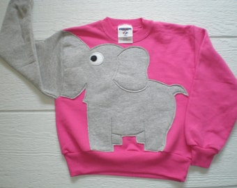 Bright pink Childrens Elephant Trunk sleeve sweatshirt,  sweater, elephant jumper, KIDS, small 4-6 ONLY Special Deal