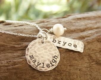 Mother Necklace Two Kids Stamped Sterling Silver Distressed Tag and Disc
