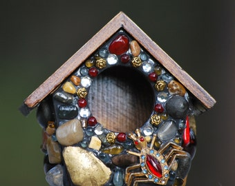 Miniature garden birdhouse mosaic jewelry box antique ruby spider diamonds gold leaf classy Halloween gift decor unique ooak artistic detail