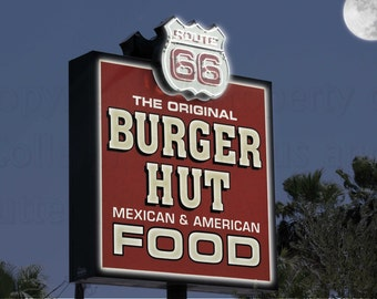 Needles California Night Scene Bringing Life Back to Famous Burger Hut Sign Route 66 Enhanced Photograph Americana Wall Hanging Home Deco