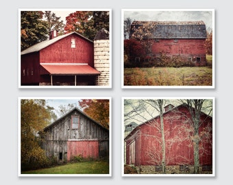 Farmhouse Decor, Rustic Red Barn Print or Canvas Art Set of 4, Farmhouse Art, Red Wall Art, Red Decor, Farm Photography, Barn Photography.