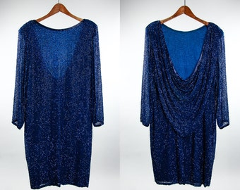 Large 1970s 1980s Vintage Beaded Silk Dress Royal Blue | Low Back 6AA