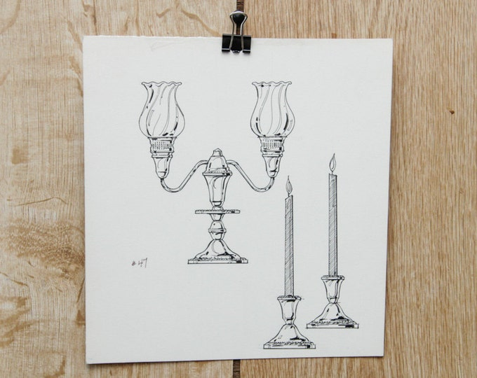 1970s Vintage Candle Stick Illustration Ohio | Candlesticks O'Neil's Hand Drawn Advertising Akron Original Sketch Winebrenner Artist 70s
