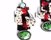A dotted mess- statement chunky , dots,  hand embroidered, embroidery, large earrings